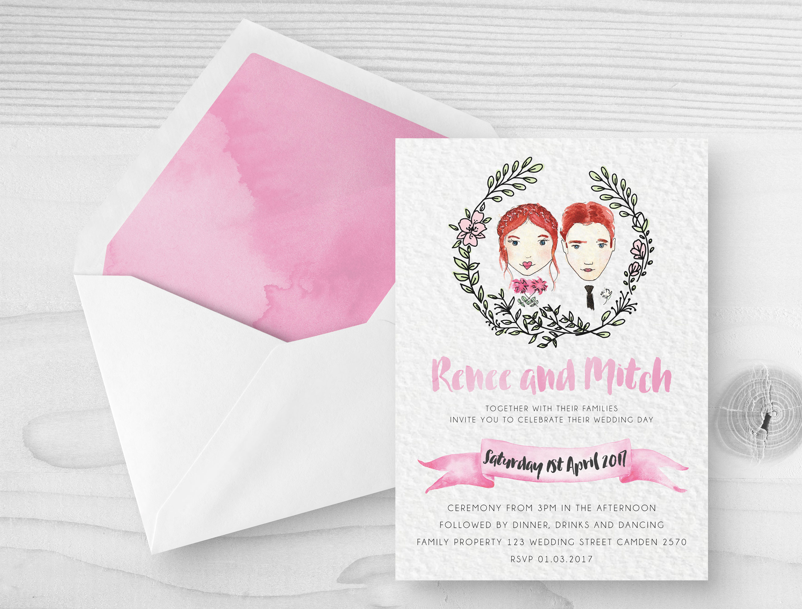 custom watercolour wedding invitations