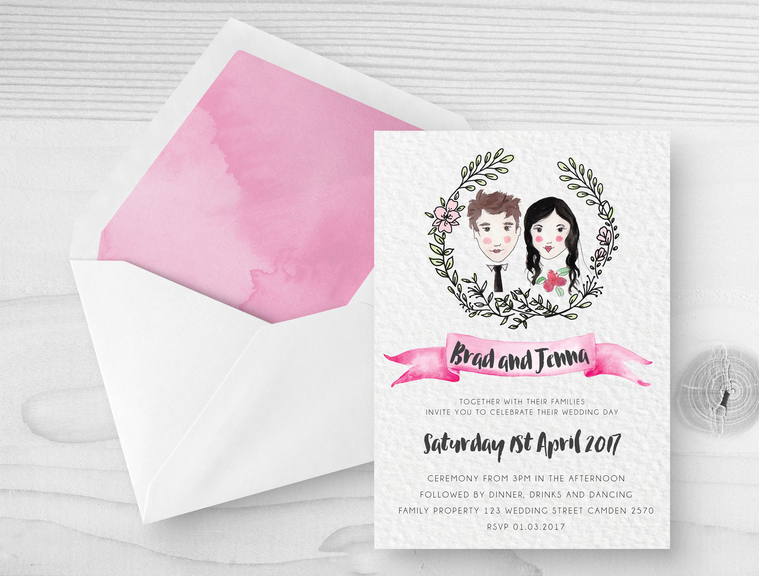 Wedding invitations and stationery camden bowral southern custom watercolour wedding invitations monicamarmolfo Image collections